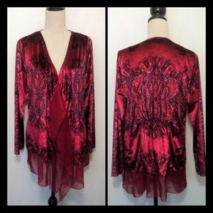 Covington Missy Red Multicolor Velvet Shrug  XL